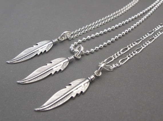 Gifts for him Mens Native American Feather Pendant on Silver chain Chopa Tribe Long silver chain Navajo Feather necklace