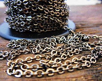 Gun Metal Plated Cable Chain - Jewelry Supplies - Jewelry Making - Mens Necklace - Extra Chain - Add On Chain - Rustic Necklace