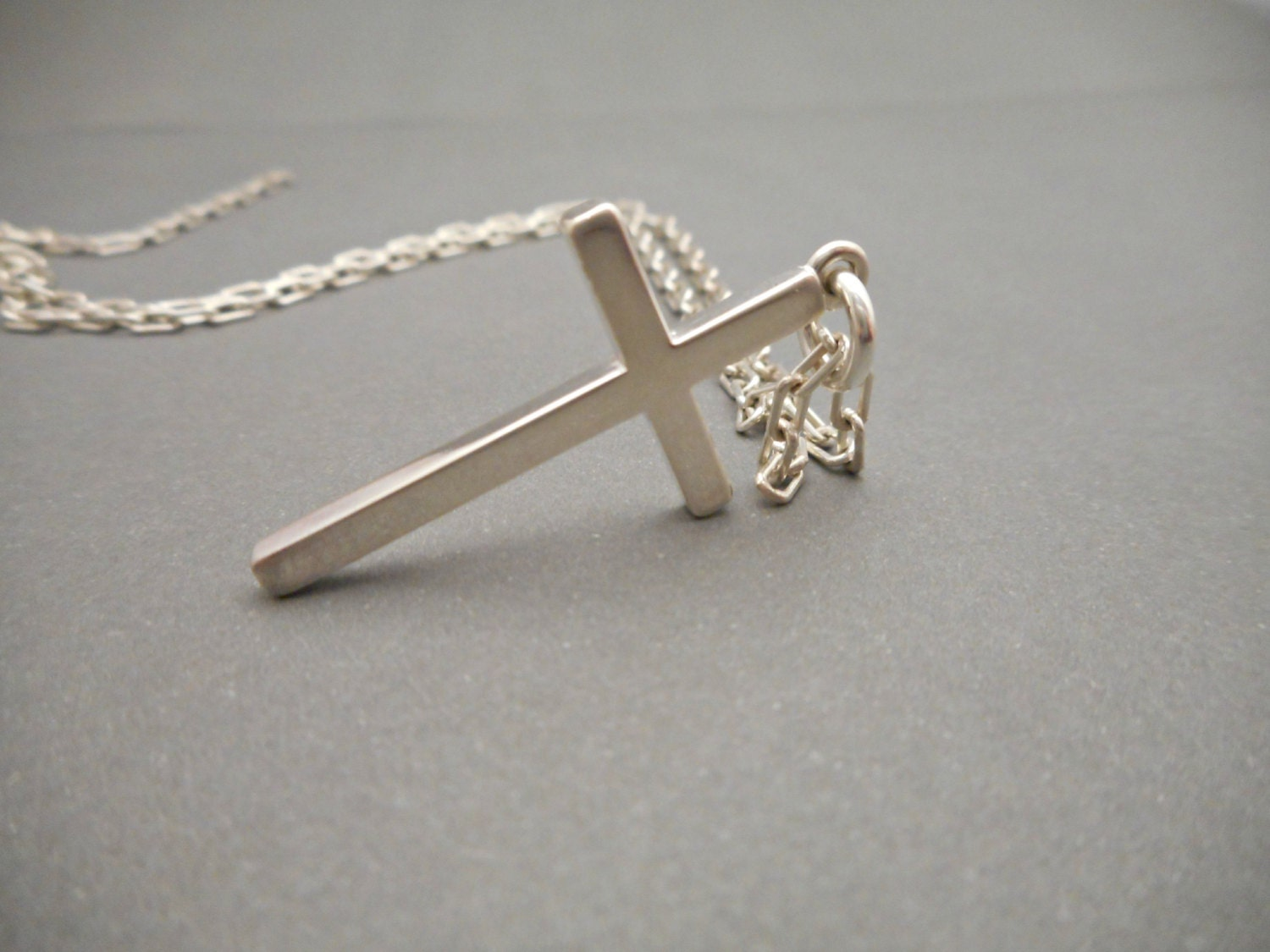 mens cross necklace silver cross jewelry cross necklace etsy. Black Bedroom Furniture Sets. Home Design Ideas