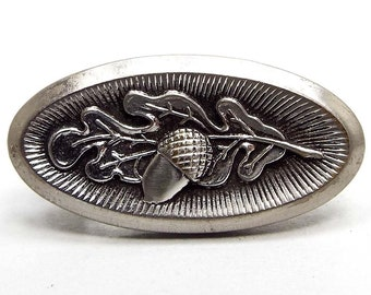 Handcast Fine Pewter Carved Acorn Tie Clip