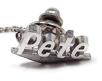 Pete Tie Tack, Name Jewelry, Swank Signed, Silver Tone, Mid Century 1960s 60s, Gift for Him Birthday Present, Mens Jewelry