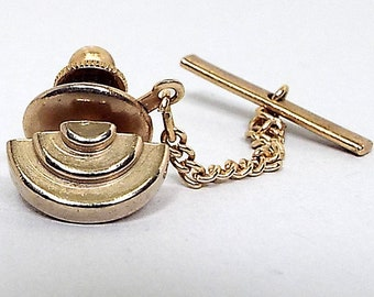 Hipster Jewelry Vintage Tie Tack Wedding Accessories Retro 1970s 70s Skinny Tie Jewelry Silver Tone Double Curve Front