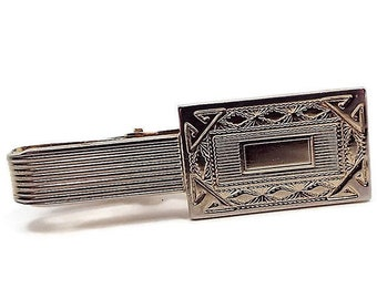 Vintage Sarah Coventry Tie Clip Silver Toned With Diagonal Texture And Blue Rhinestone Used