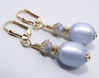 Clip on Earrings, Periwinkle Blue Earrings, Pastel Drop, Gold Plated, Spring Jewelry, with Vintage Moonglow Lucite Beads,