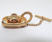 Phone Tie Tack, Vintage Tie Tack, Telephone Tie Tack, Rotary Phone Telecommunications, Mid Century 1960s 60s, Gift for Him, Gold Tone