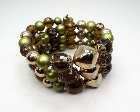 1960s Stretch Wrap Bracelet Vintage Laguna Black Beaded Glass Memory Wire Bracelet /& Earrings Mid Century Glass Bead Set