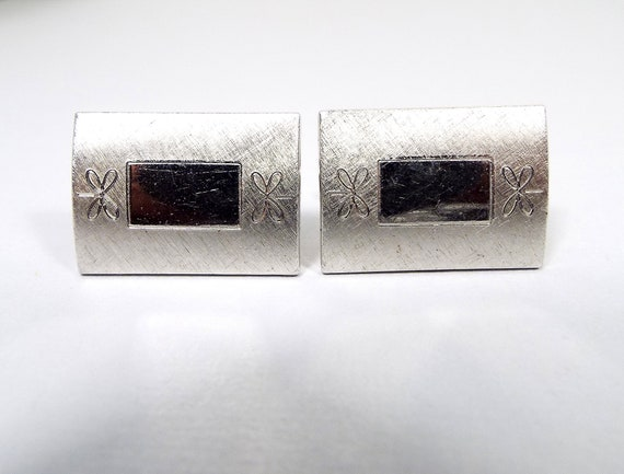 Mid Century 1960s 60s Silver Tone Cuff Links Modernist Rectangle Brown Lucite Cufflinks