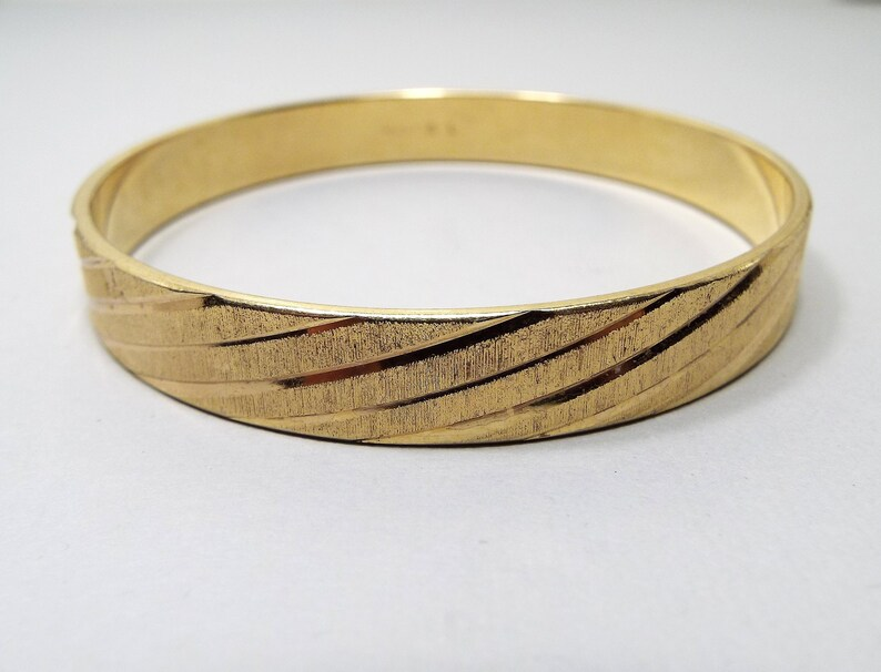 f334afab0610f Vintage Bangle Bracelet, Monet Signed, Diamond Cut Design Brushed Gold  Tone, Etched Engraved, Mid Century 1960s 60s