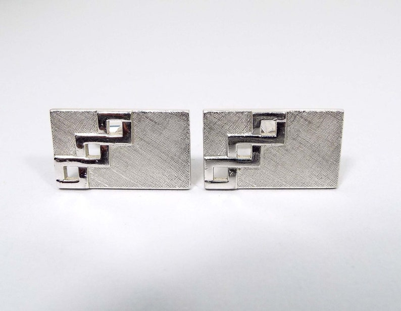 Mid Century 1960s 60s Brushed Silver Tone Cuff Links Hipster Jewelry Swank Signed Vintage Cufflinks Rectangle Cutout