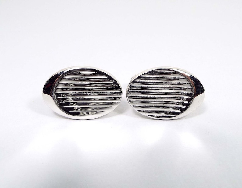 Modernist Jewelry Mid Century 1950s 50s Emmons Signed Vintage Cufflinks Silver Tone Oval Cuff Links Wedding Jewelry Gift for Him