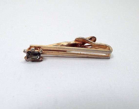 Swank Signed Retro 1970s 70s Tie Accessories Two Tone Mens Vintage Formal Jewelry Vintage Tie Clip
