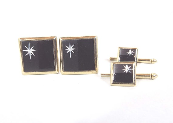 Mens Swank Cufflinks Gold and Black Ribbed