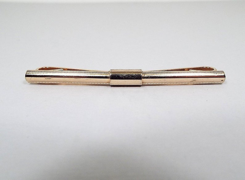 Groom Gift Long Vintage Collar Clip Bar Mens Formal Wedding Jewelry Best Man Mid Century 1960s 60s Gold Tone Textured Edge