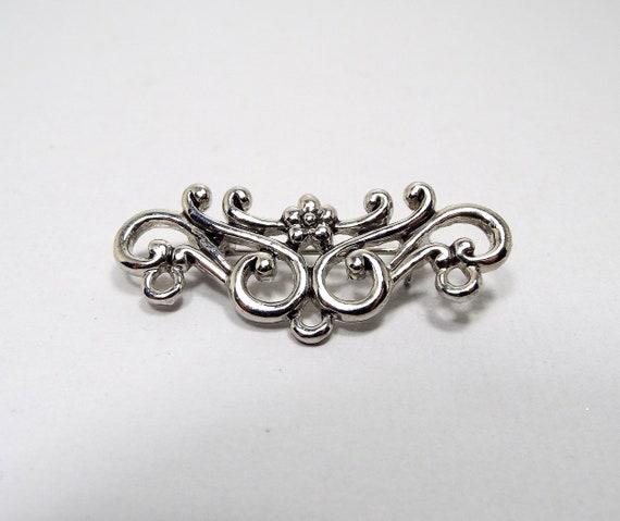 Vintage Brooch Pin Silver Tone Art Nouveau Style Womens  11a255f2b4
