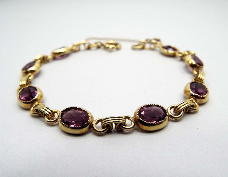 Atlas Signed Gold Filled Purple Rhinestone Vintage Bracelet 12KT GF Mid Century 1950s 50s Gold Tone with Safety Chain