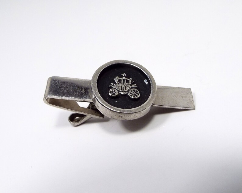 Vintage Tie Clip Carriage Tie Clip Mid Century 1960s 60s Hipster Jewelry Buggy Cart Black and Silver Tone Mens Formal Tie Accessories