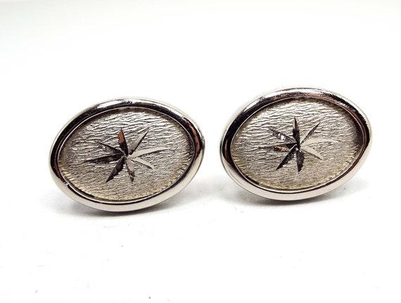 Turquoise Locket Cufflinks Jewelry Silver Tone Round Oval Cuff Links