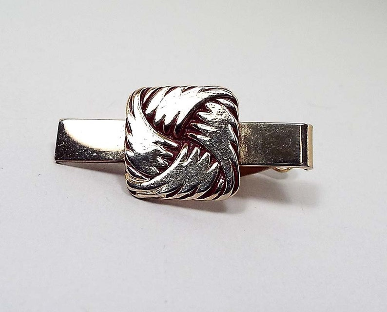 Gold and Silver Toned Knot Square Tie Clip