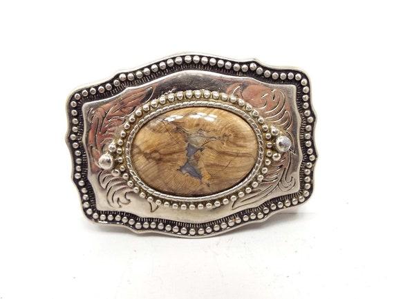 Agate Belt Buckle Southwestern Style Large Gold Tone Womens Mens Belt Buckle SWBU113