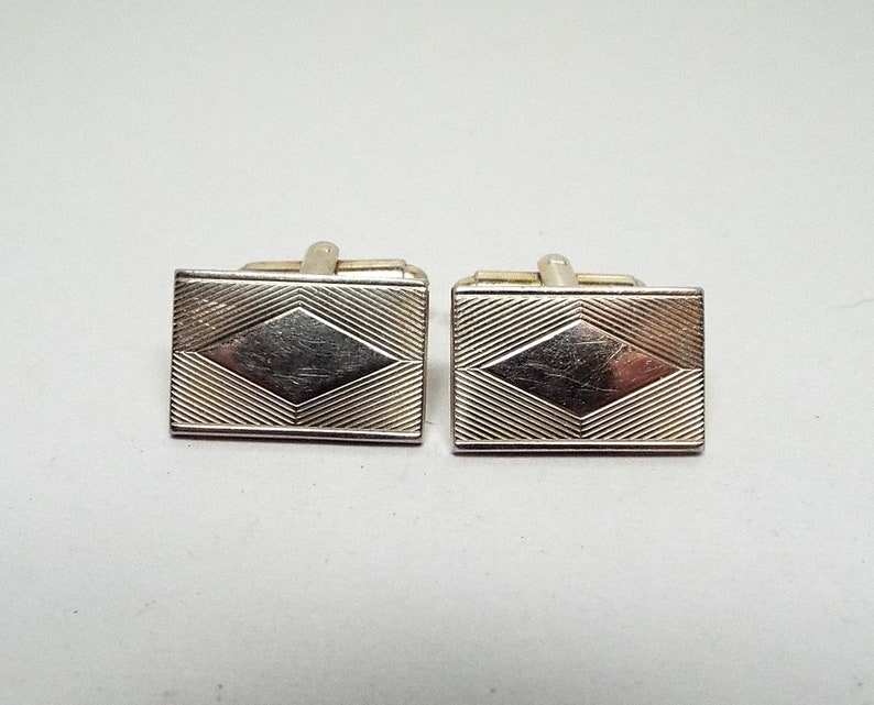Mid Century 1960s 60s Diamond Shape Rectangle Geometric Gold Tone Shirt Jewelry Best Man Groom Gift Unisex Jewelry Vintage Cufflinks