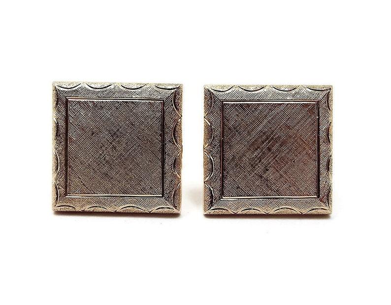 Square Cuff Links Textured Gold Tone Best man Groom Gift Vintage Cufflinks Mens Formal Retro 1970s 70s Wedding Jewelry