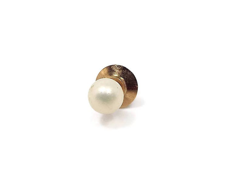 Vintage Tie Tack Faux Pearl Tie Tack 7mm 7 mm Light Yellow Off White Mid Century 1960s 60s Wedding Jewelry Best Man Groom Gift