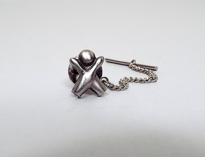 Vintage Tie Tack Antiqued Silver Tone Pewter Tie Tack Bowling Tie Tack Bowling Ball and Pins Sports Bowler Gift Retro 1980s 80s