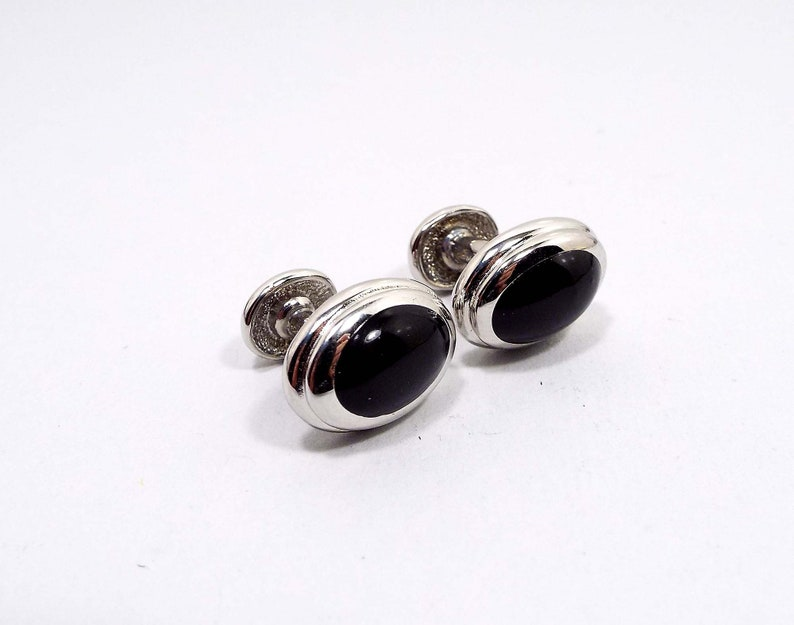 Black Plastic Front Bean Back Vintage Cufflinks Curved Silver Tone Oval Cuff Links Mid Century 1950s 50s Gentleman Jewelry