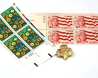 Girl Scout Stamps and Pin