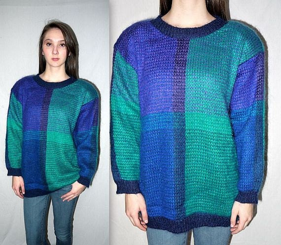Color Karma ... Vintage 80s mohair sweater / 1980s