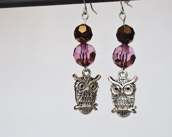 Silver and Purple Owls Earrings