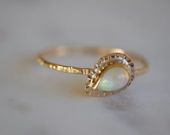 Gold and opal ring, opal ring, thin opal ring, opal stacker ring, bohemian jewelry, minimalist opal, simple opal ring