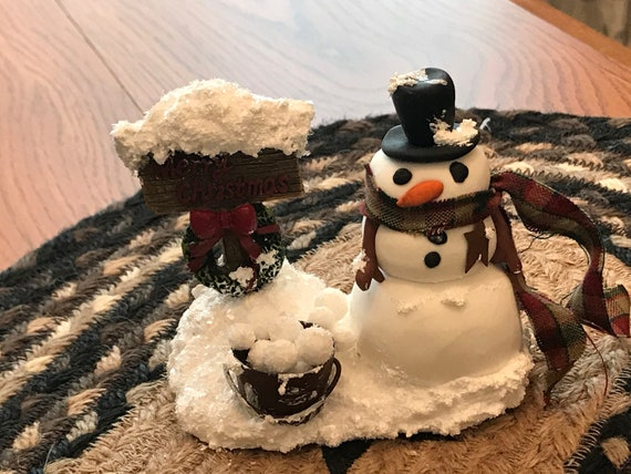 Polymer Clay Christmas Village.Winter Village Snowman And Merry Christmas Sign Scene Polymer Clay Snowman Primitive Snowman