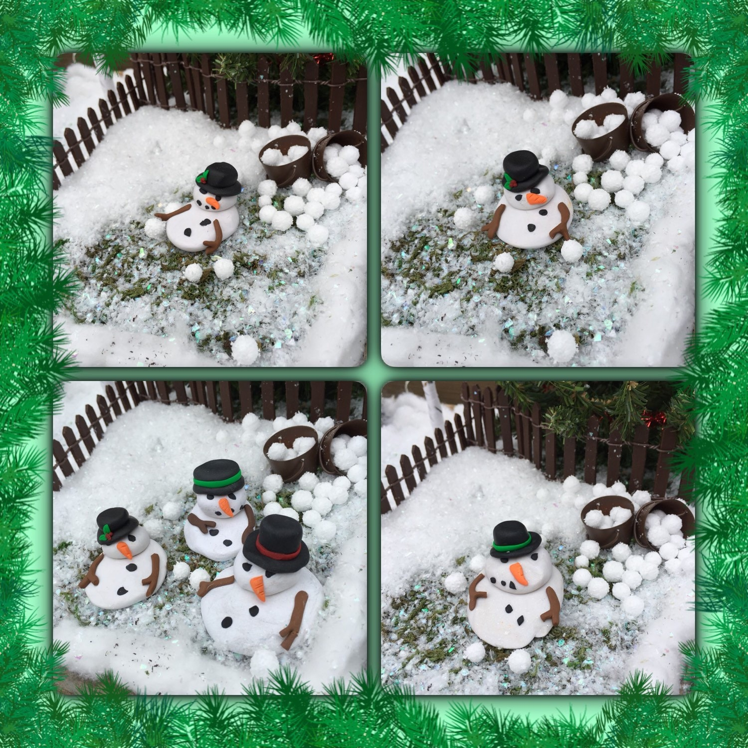 Polymer Clay Christmas Village.Assorted Melted Snowman Polymer Clay Winter Fairy Garden Christmas Village