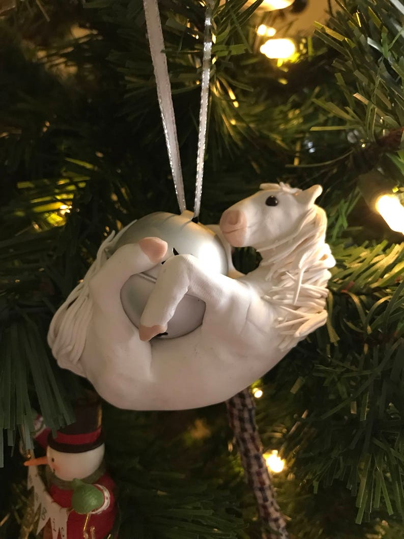 White Horse Polymer Clay Christmas Ornament Etsy