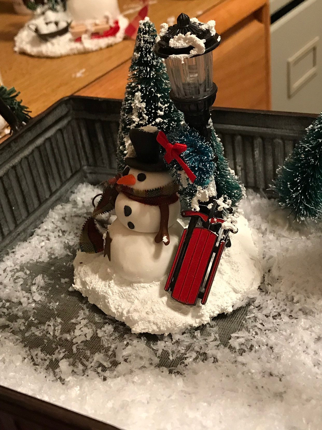 Polymer Clay Christmas Village.Winter Village Snowman And Lamppost Scene Polymer Clay