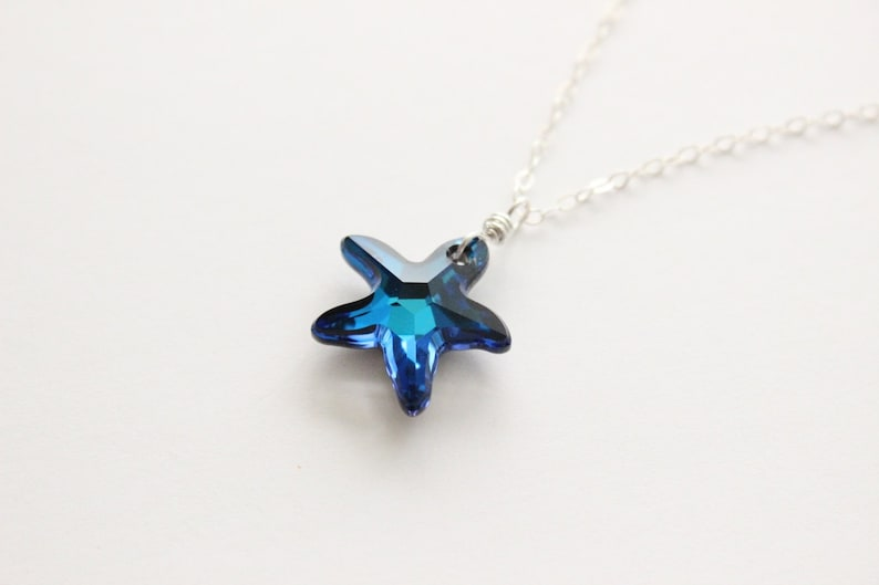 f31465d780023 Swarovski starfish necklace, Bermuda blue austrian crystal pendant,  sterling silver jewelry, everyday beach sea shore marine life necklace