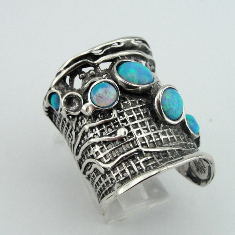 Israeli Jewelry made in Israel solid Sterling Silver Blue Mosaic Opal Ring great gift available in many other gemstones Wide net texture