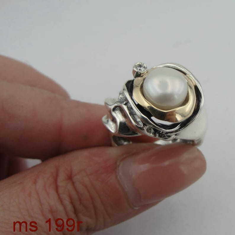 Hadar Jewelry Handcrafted Israel Art Sterling Silver Pearl Ring gold 9k zircon gift size 7.5 ms 199