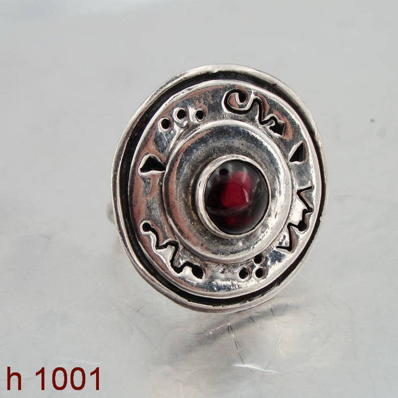Red Stone Ring size 7 Garnet Ring Round Red Garnet Ring Handcrafted Ring 925 Sterling Silver Garnet Ring Israel Jewelry h 1001
