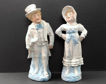 Staffordshire Pottery Figurines, Happy Couple, Book Reader, Smiling Wife, Pair of Porcelain Figures, Country Couple, English Pottery, C.1900