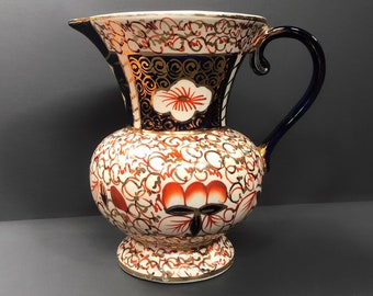 Large Wade Heath Imari Pattern Jug C.1930, Ironstone Pottery Pitcher, Cobalt Blue and Gold, Collectable Pottery, Art Deco, Antique Pottery