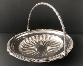 Serving Tray, Silver Tray, Silver Basket, Muffin Tray, Antique Handled Serving Tray, Sandwich Platter, Walker & Hall, Bread Bowl, Fruit Bowl