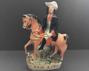 Small Staffordshire Pottery Tom King Highwayman, Circa 1860s, Antique Staffordshire Figurine, Victorian Pottery, English Antiques