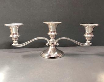 Vintage Candelabra, Vintage Low Line Two Arm Candelabra, Chrome Plated, Candelabra, Candle Holder, Mid Century, Candlestick