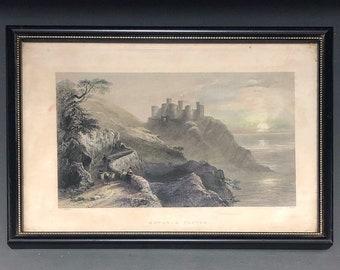 Antique Engraving HARLECH CASTLE,  W H Bartlett/R Wallis c. 1841/1842, Framed Antique Prints, Victorian Antiques, Wall Art, Home Decor
