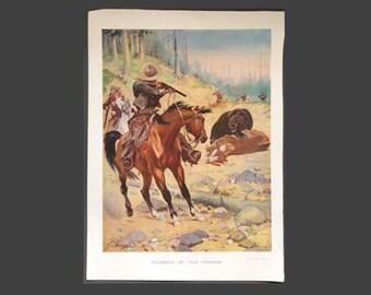 Rounding Up Old Ephraim, Stanley Llewellyn Wood, Antique Print, Vintage Illustration, Wild West USA, American Cowboy, Bear Hunt, Horse Print