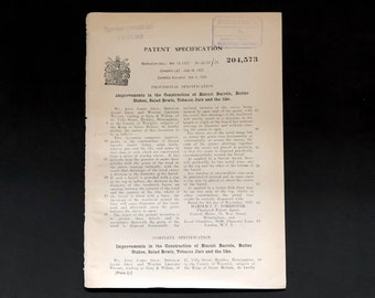 Antique Patent Document 1923, Improvements in the Construction of Biscuit Barrels, Butter Dishes, Salad Bowls, Tobacco Jars And The Like