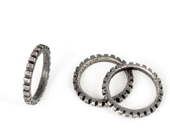 Mens Stacking Rings - Set of 3 Texture Rings for Men in Black Oxidized Sterling Silver Makes Great Boyfriend Gift