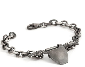 Motorcross Gifts - Mens Chain Bracelet Featuring Motorcross Handlebar in Solid Sterling Silver with Black Oxide Ideal for Motorcross Dad
